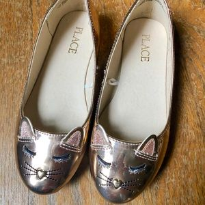 Rose gold children's place cat ballet flats
